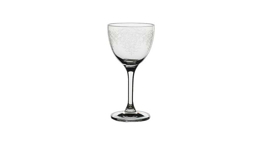 Rona Lace Etched Nick & Nora Glass, $15.00