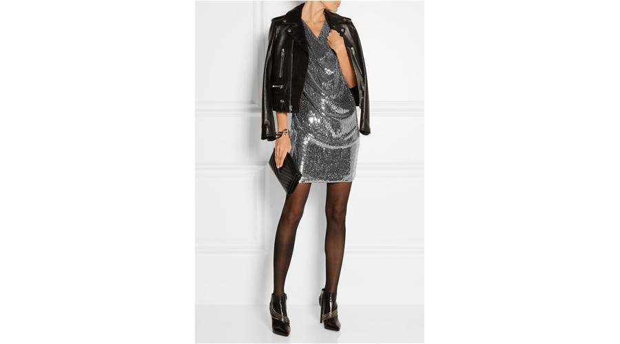 Saint Laurent Draped Sequined Silk-Georgette Dress