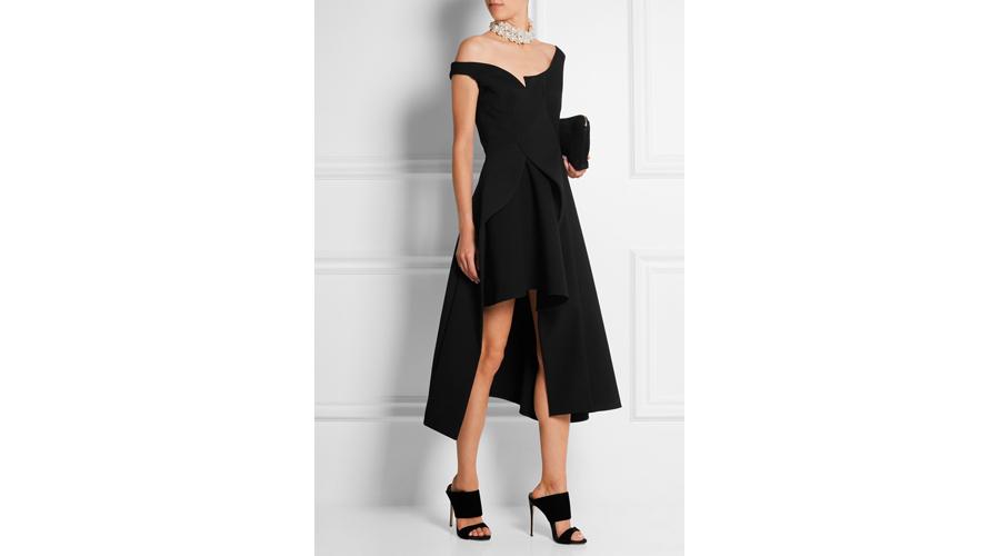Stella McCartney Reily Cutaway Embellished Wool Blend Crepe Midi Dress