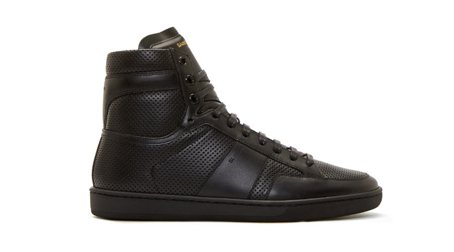 7. Saint Laurent Black Leather Perforated SL/10 Sneakers, $835 CAD