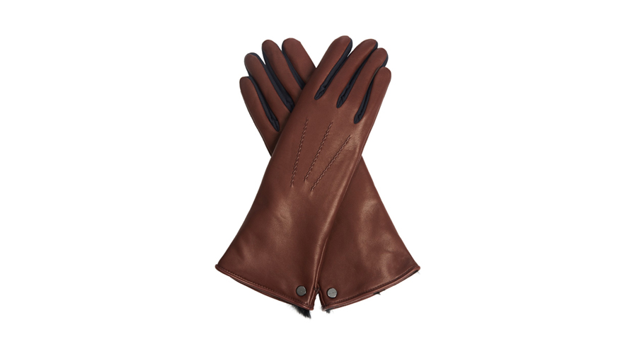 Agnelle Rabbit-Fur Lined Leather Gloves, $300
