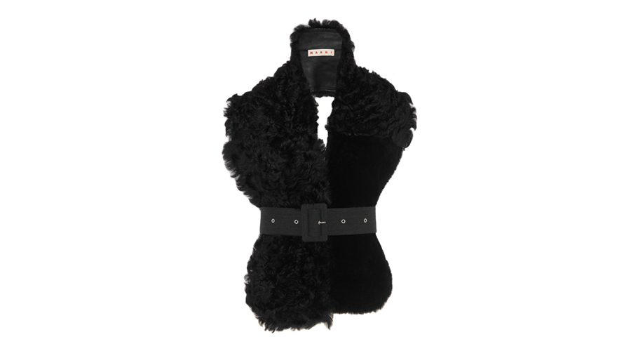 Marni Belted Leather and Shearling Scarf, $3,661