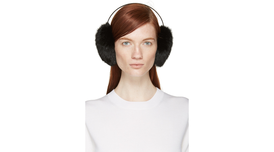Meteo by Yves Salomon Black Rabbit Fur Earmuffs, $50