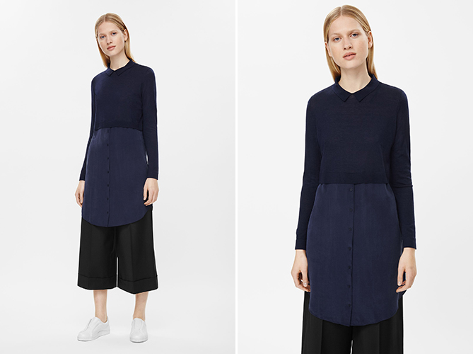 cos Merino Wool Silk Shirt Dress