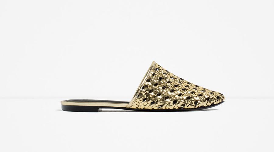 Zara Flat Laminated Sandals