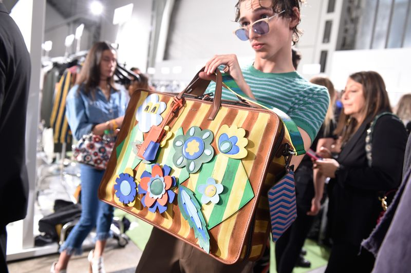 Fendi Mens Spring 2017 Cut Out Flowers Briefcase
