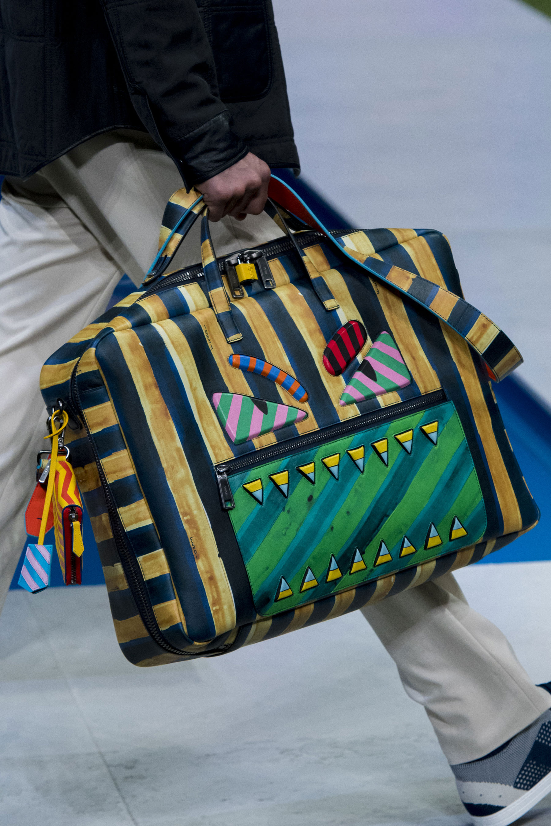 Fendi Mens Spring 2017 Painted Angry Face Briefcase