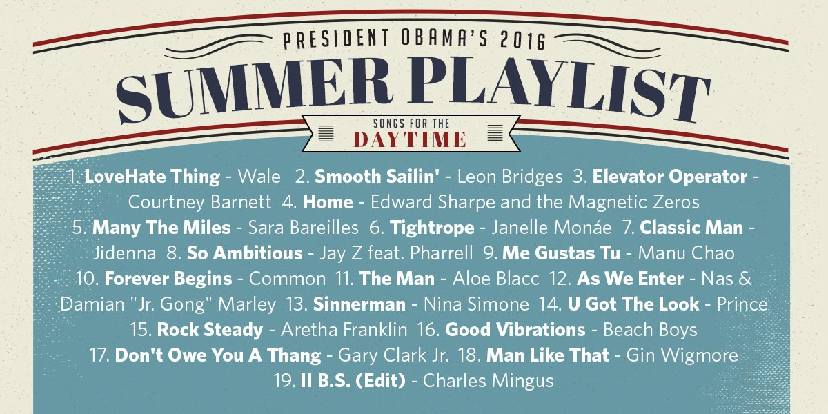 Obama Summer Playlist Day