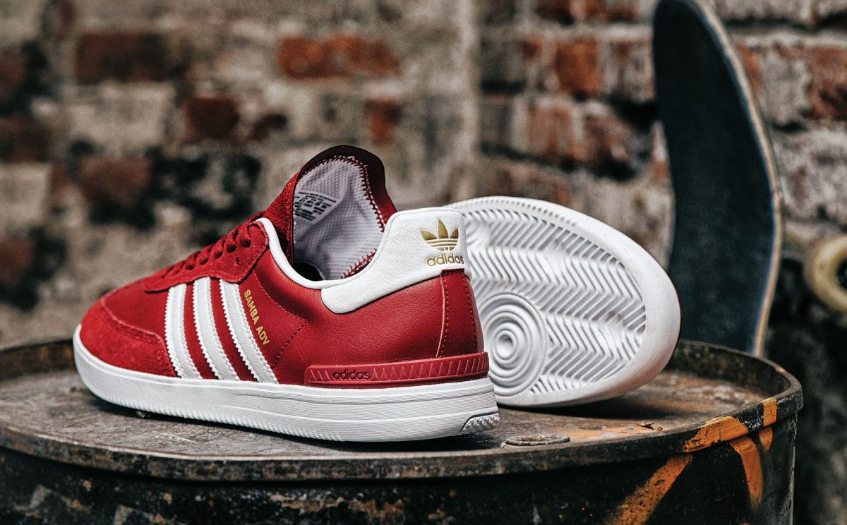 cheap for discount aa988 52daf The adidas Skateboarding Samba ADV Burgundy will be available at specialty  adidas retailers as well as the adidas Skateboarding website beginning on  January ...