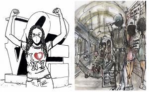 Doodles pictured above by artists Elizabeth Colomba (L) and Chuck D (R)