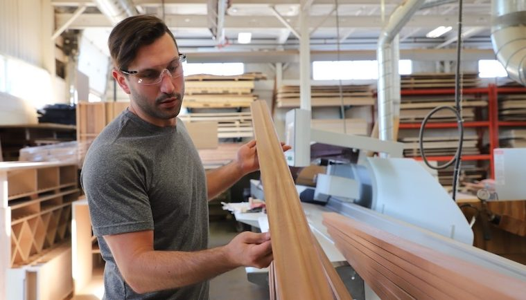 I Woodwork in a Wooden Wine Racks Factory